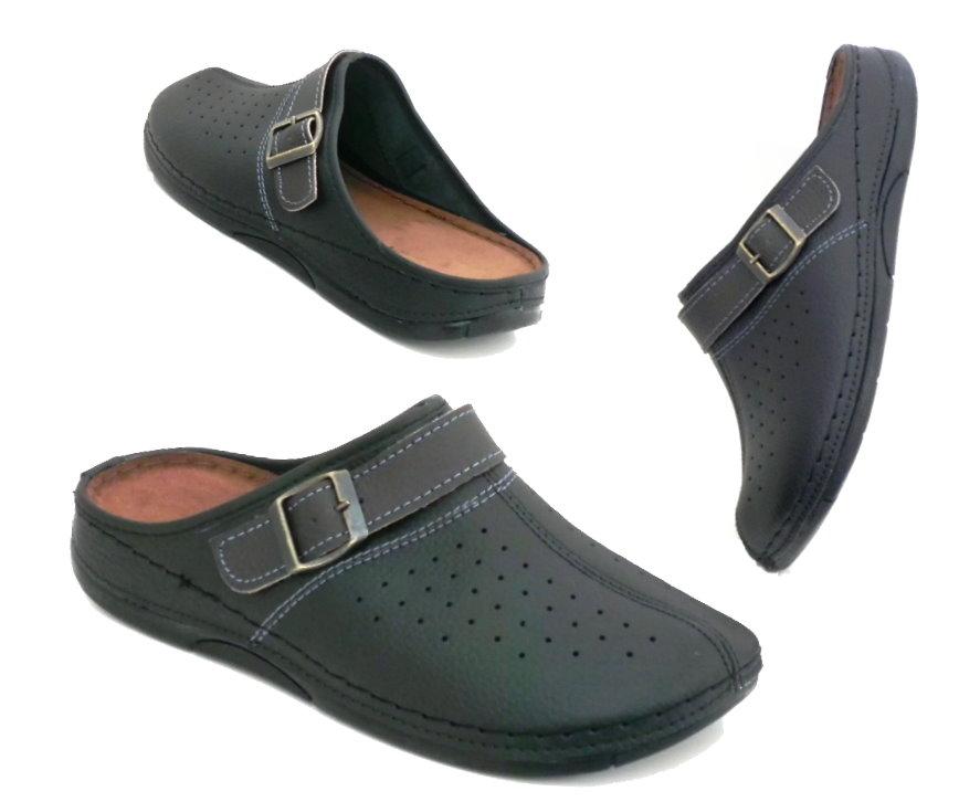 comfort leder herren clogs hausschuhe schwarz pantolette schuhe slipper ebay. Black Bedroom Furniture Sets. Home Design Ideas